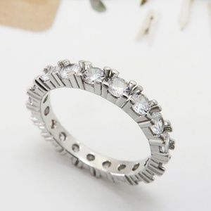 AAA+ Quality CZ SZ 7 Eternity Band Silver Ring